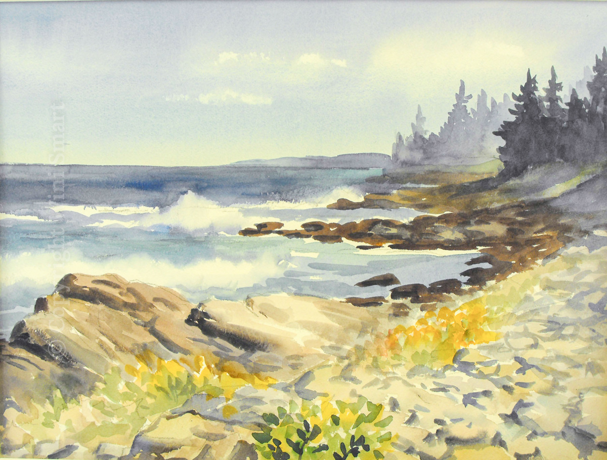 "Seawall Shore 12""x16"" Watercolor Call for Price"